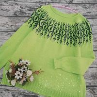 绿叶 喵夫人霜降女士棒针叶子提花套头毛衣