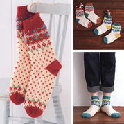 冬日温暖小物之棒针提花与仿提花毛线袜编织图解