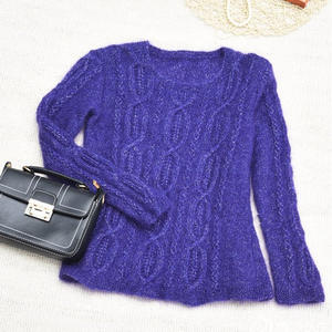 紫涵 柔情女士棒针圆领马海毛衣