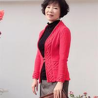 庆余年 仿欧美图解翻译款女士棒针结编红色开衫