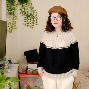 简爱 从领口往下织女士棒针拼色套头毛衣