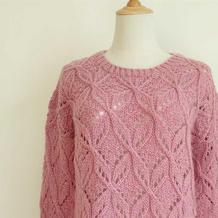 蔷薇 仿乐天款女士棒针镂空花套头毛衣