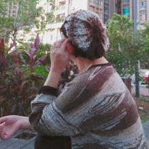 """沉沙 仿""""远山""""女士棒针段染羊毛蕾丝魔球套头毛衣"""