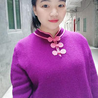 送妈妈的中式女士棒针半开领盘扣毛衣