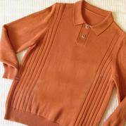 银笛SK280机织男士棒针T领长袖羊毛衫