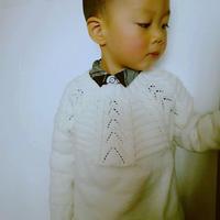 初雪 趣编织4股棉从上往下织男童棒针育克圆肩毛衣