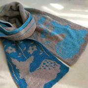 小鹿斑比兒童棒針雙色雙面提花圍巾