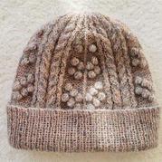 輕薄軟暖真絲羊絨細支馬海編織女士棒針卷邊豆豆帽
