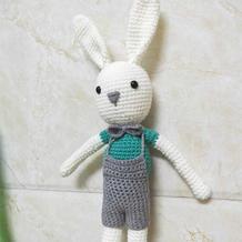 安吉小兔 长褪背带裤钩针玩偶兔子织法说明