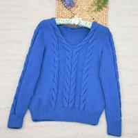 曼妮 蕾丝羊毛女士棒针V领麻花毛衣