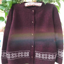 祥瑞 给妈妈生日礼物手工编织中老年棒针提花羊绒开衫