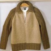 粗針織插肩袖男士棒針球服夾克式拉鏈開衫毛衣