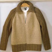 粗针织插肩袖男士棒针球服夹克式拉链开衫毛衣