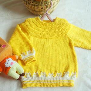 安佳 从上往下织儿童棒针提花圆肩套头毛衣