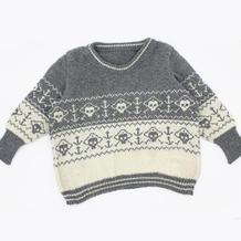 骷髅和锚 SK280机织儿童提花羊毛绒套头毛衣