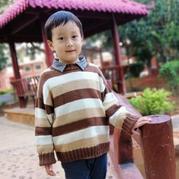 牛奶咖啡 男童棒针条纹套头毛衣