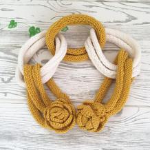 零线编织棒针玫瑰花装饰链