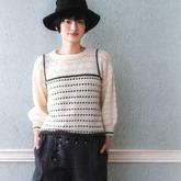 甜美風格女士棒針假兩件圓領燈籠袖套頭毛衣