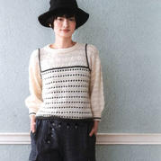 甜美风格女士棒针假两件圆领灯笼袖套头毛衣