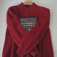 攀巖  手工編織補丁花樣男生棒針羊絨衫