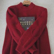 攀岩  手工编织补丁花样男生棒针羊绒衫
