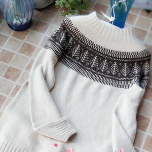 摩卡 可织情侣款的云貂男生棒针提花毛衣