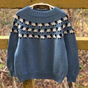 小羊先森 从领口往下织儿童棒针提花圆肩套头毛衣