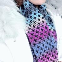梦幻星空 女士钩针双面围巾