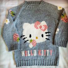 适合100-110的云绒儿童棒针hello kitty草莓图案套头毛衣