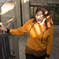 秋黄 从帽子开始织的女士棒针提花连帽套头毛衣