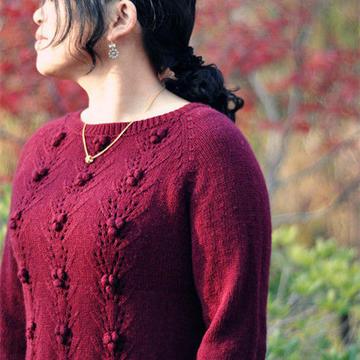 豆蔻 云绒叁柒女士棒针插肩套头毛衣衣