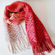 莓园 大牌风格女士钩针方格流苏围巾
