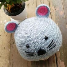 爱心编织小老鼠造型钩针宝宝帽