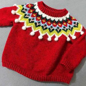 成人孩子都适合的棒针育克圆肩豆豆提花毛衣