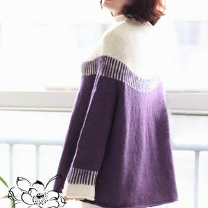 雪松 女士棒针拼色圆肩套头毛衣