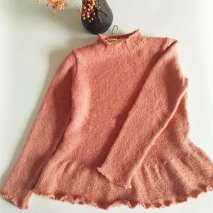 云梦 云纹古粉色女士棒针荷叶边套头衫
