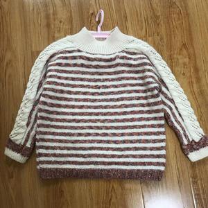 碰见雪 云纹儿童横织镂空花袖子条纹套头毛衣
