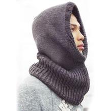 冬季骑车神器 好织实用男士棒针围脖帽