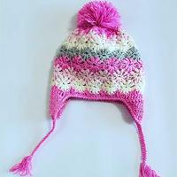 彩色条纹女童钩针护耳帽