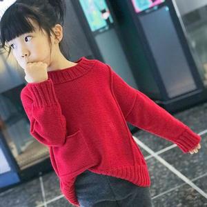 知愿 仿淘宝款女童棒针休闲宽松套头毛衣