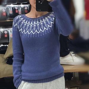 云芷 牦牛绒女士棒针提花套头毛衣