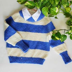 从上往下织云纹男童棒针蓝白条纹圆领毛衣