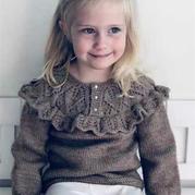 云紋女童棒針木耳邊毛衣裙