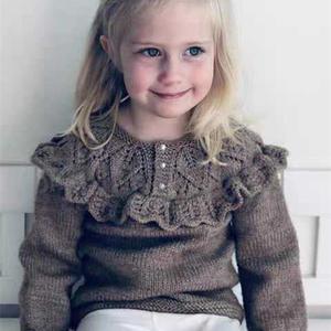 云纹女童棒针木耳边毛衣裙