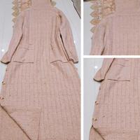 燕麦奶茶 彩点杏色女士棒针侧开岔长袍式连衣裙