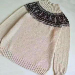 从底边往上织男士棒针圆肩提花毛衣