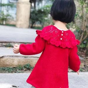 歐若拉 從領口往下織兒童棒針荷葉邊連衣裙