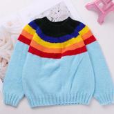 从上往下织彩虹色圆肩毛衣编织视频 零基础新手可轻松跟织