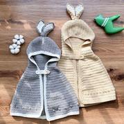 小兔子斗篷 钩针连帽斗篷编织视频动静了教程