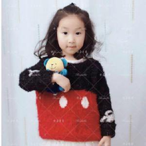 羽毛线编织儿童棒针米妮图案套头毛衣